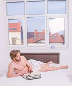 Man Writer Lay Bedclothes Work Book. Writer Enthusiastic Author Used Old Typewriter. Create Bestsell poster