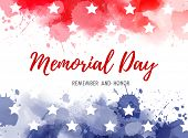 Usa Memorial Day Background. Abstract Grunge Watercolor Paint Splashes In Flag Colors With Text. Tem poster