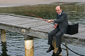 Fishing Man In Business Suit