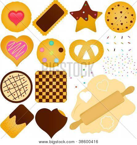 Um conjunto de ícones do vetor: Cookies e biscoitos com uma massa de pão