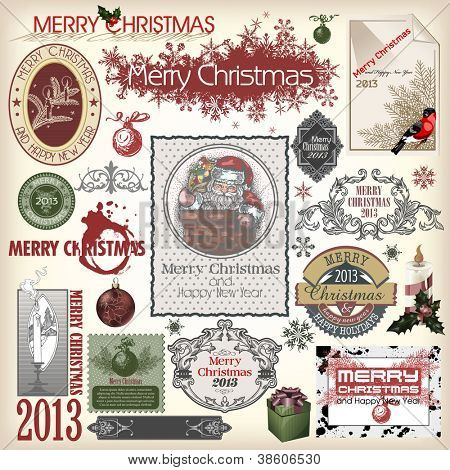 Christmas collection of calligraphic and typographic elements with frames, vintage labels, ribbons, stickers, Santa Claus, birds and balls. Set for design.