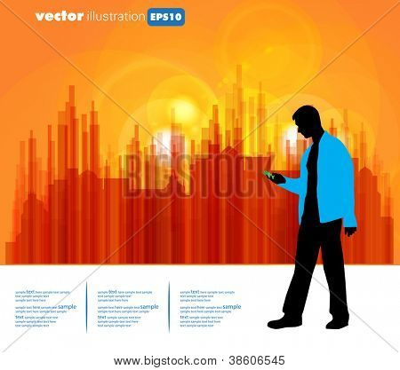 Young businessman with city background