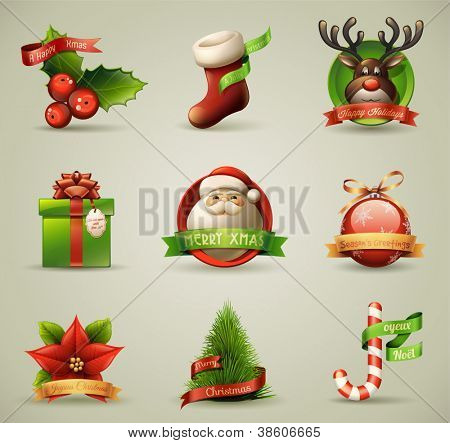 Symbole/Objekte Weihnachtskollektion. Detaillierte Vektor-Illustration.