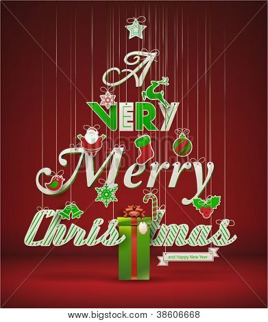 """Very Merry Christmas"", creative Christmas tree. Vector illustration."