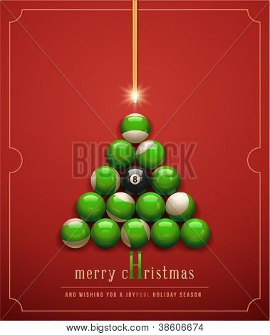 "Merry Christmas/ and Wishing you a ""Joypool"" Holiday Season. Creative Christmas tree. Vector Illustration"
