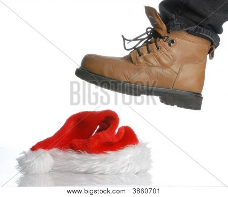 Workboot Stomping On Christmas Hat