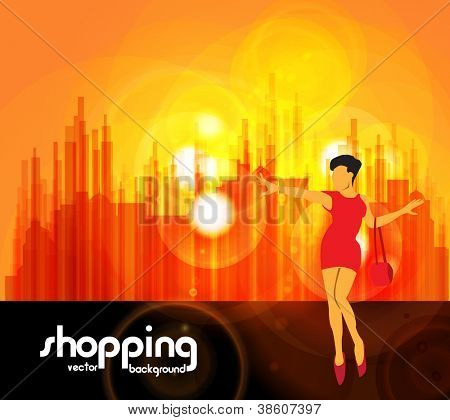 Shopping girl. Urban background. Vector illustration