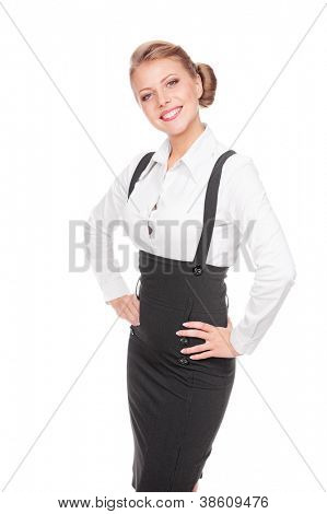 excited businesswoman posing over white background