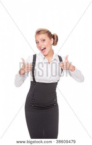 excited businesswoman showing thumbs up over white background