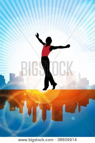 Dance man ballet silhouettes - vector