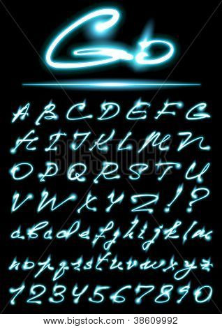 vector glowing transparent Alphabet, uppercase and lowercase letters, digits