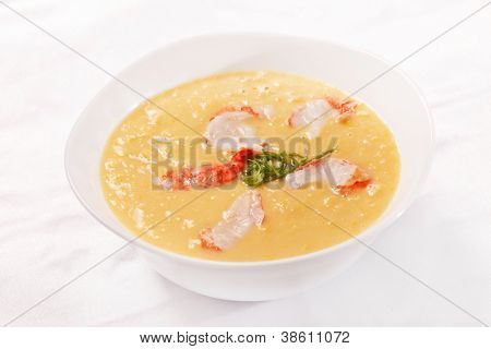 pumpkin soup with shrimps