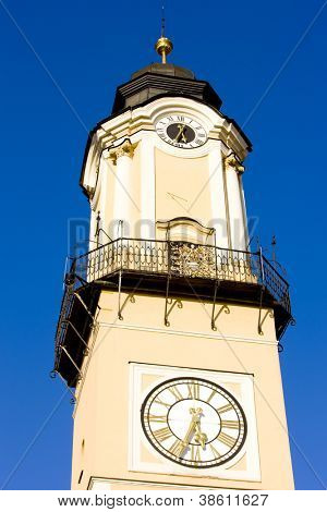 detail of Tower of the Clock, SNP Square, Banska Bystrica, Slovakia
