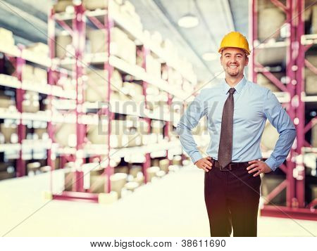 smiling man in classic warehouse