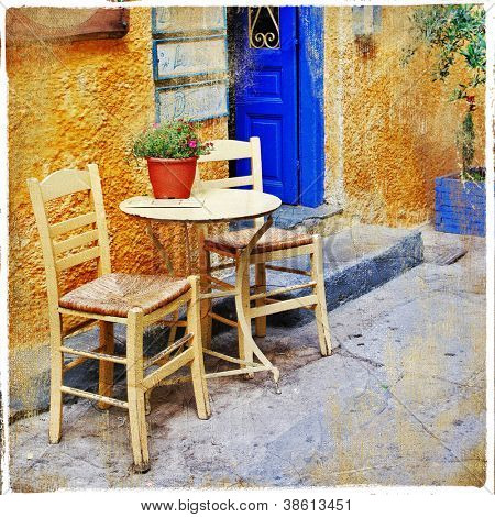 traditional greek tavernas. artistic picture