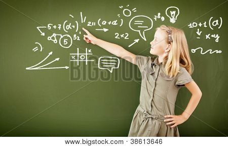 Scoolgirl standing in class near a green blackboard