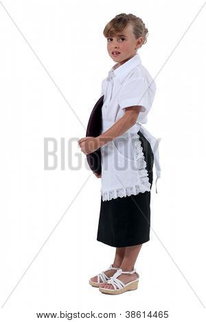 Girl dressed as a waitress