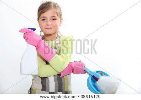 Child doing household chores