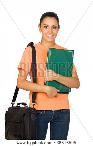 Young University Student with a Backpack Isolated on White