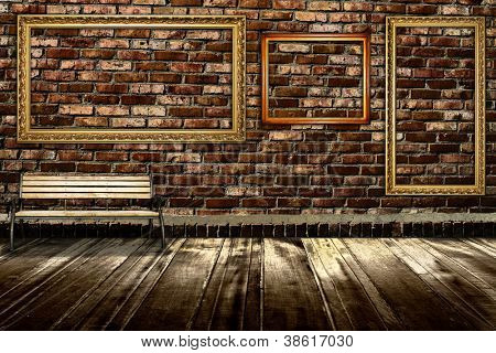 room interior vintage with brick wall and wood floor background