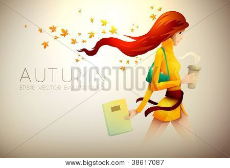 Autumn Background | Young Woman With Her Coffee To Go | Layered EPS10 Vector Illustration
