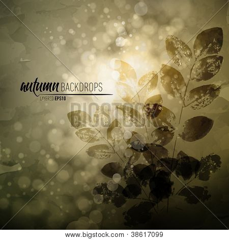 Autumn Background with Nature Printing of Fallen Leaves   Vector EPS10 with organized layers