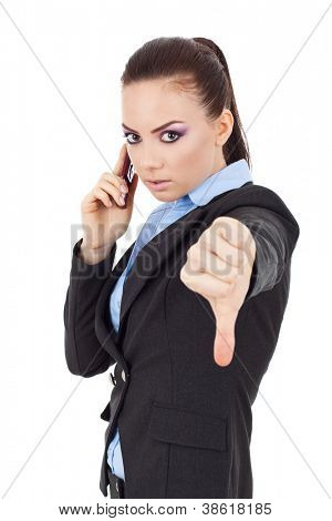 portrait of a young business woman talking on the phone and showing thumbs down