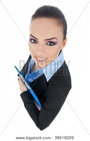 Top view of smiling young business woman with clipboard on white background