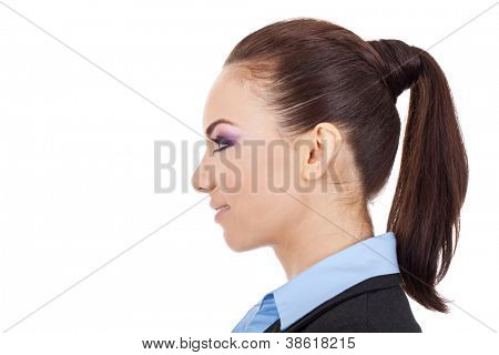 side view portrait of a beautiful young business woman smiling over white background