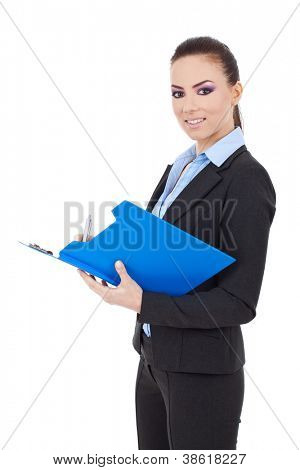 Portrait of a happy young business woman taking notes and looking at the camera isolated over white background