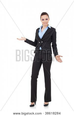 full length picture of an appealing young business woman looking undecided and confused at the camera, isolated on white