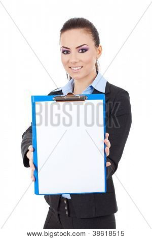 Young business woman showing clipboard with smile on her face against white background