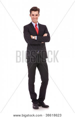 full body picture of a business man with arms crossed on white background
