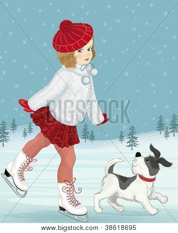 Little girl skating accompanied by her dog