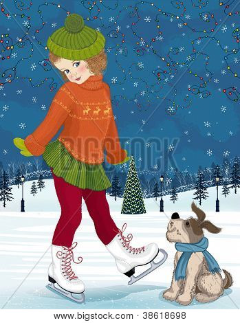 Little girl with dog at skating rink