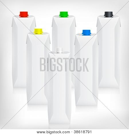 Modern juice or milk packages with 6 different color caps (red, green, blue, black, white, yellow).