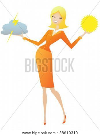 Sunny Weather Woman - Blond weather forecaster with a broad smile, holding stormy cloud in one hand and sun disk in the other