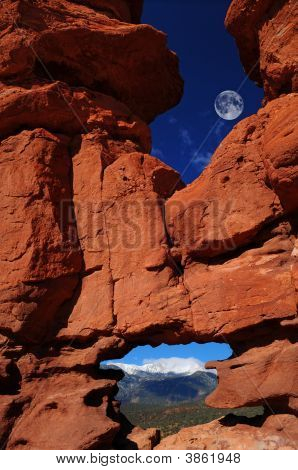 Siamese Twins At  Garden Of The Gods With Pikes Peak And Moon
