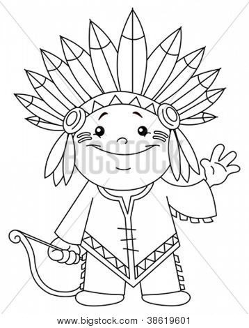 Outlined Indian kid. Coloring page.