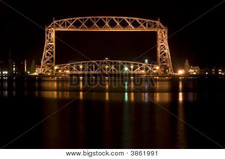 Duluth, Mn Lift Bridge At Night