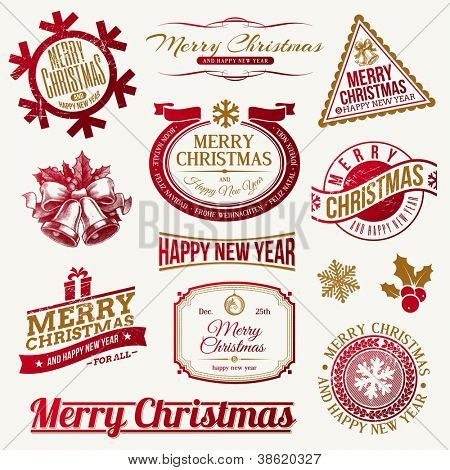 Vector set of decorative Christmas holidays emblems and labels