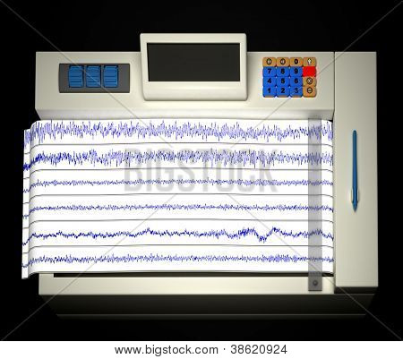 Encephalogram isolated on balck backdrop