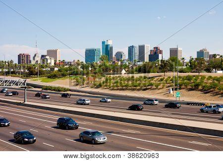 Freeway and downtown Phoenix, Arizona