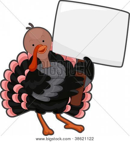 Illustration of a Turkey Holding a Blank Sign