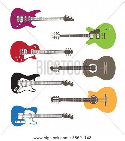 Farbe-Vektor-Silhouetten der Gitarre
