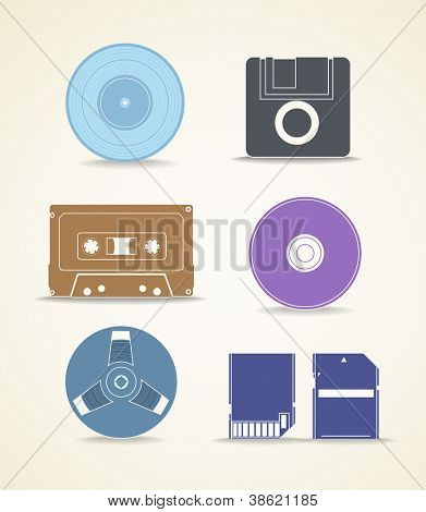 Digital and analogue storage icons