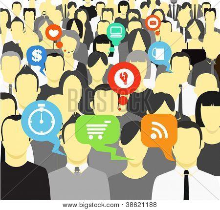 Sprechen und denken von Personen in einer Menschenmenge