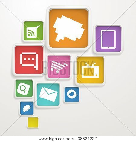 Abstract Background of boxes with media icons