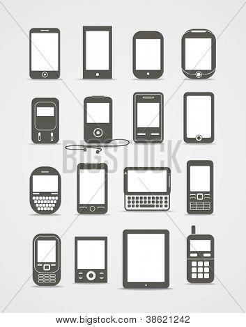 Abstracte stijl moderne en vintage mobiele gadgets