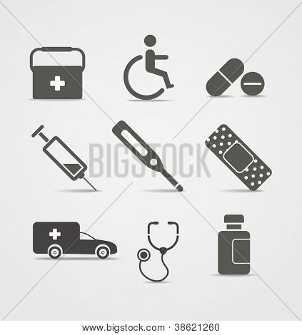 Abstract style medical icons set